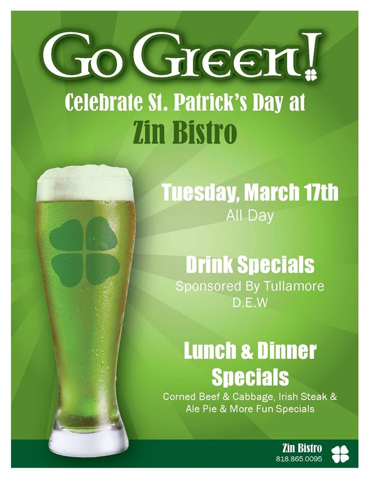 Join Us For St. Patrick's Day at Zin Bistro!