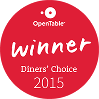 We have been selected for the OpenTable Diners' Choice Awards again!