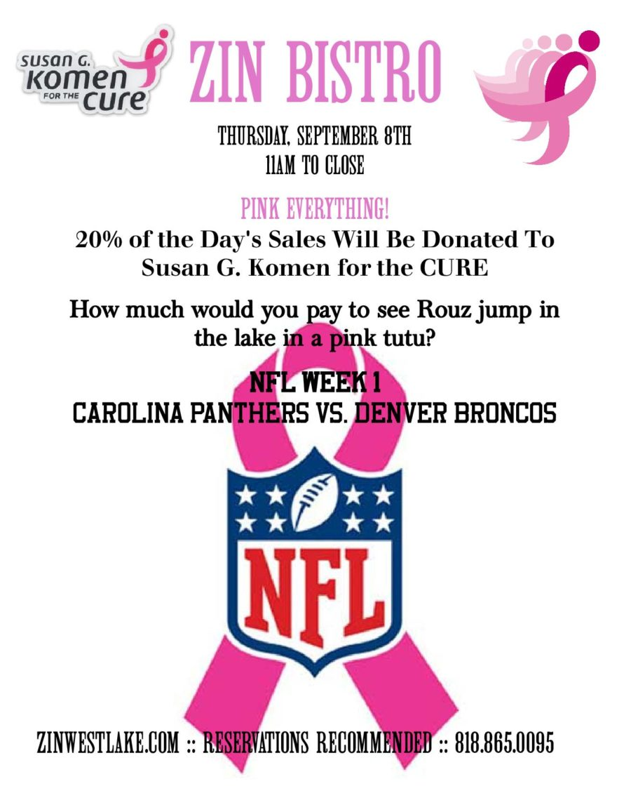 Join Zin Bistro in Supporting the Susan G. Koman For The Cure