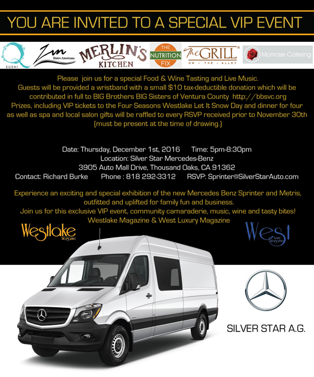 Support BIG Brothers BIG Sisters at Mercedes-Benz this Thursday with Zin Bistro!