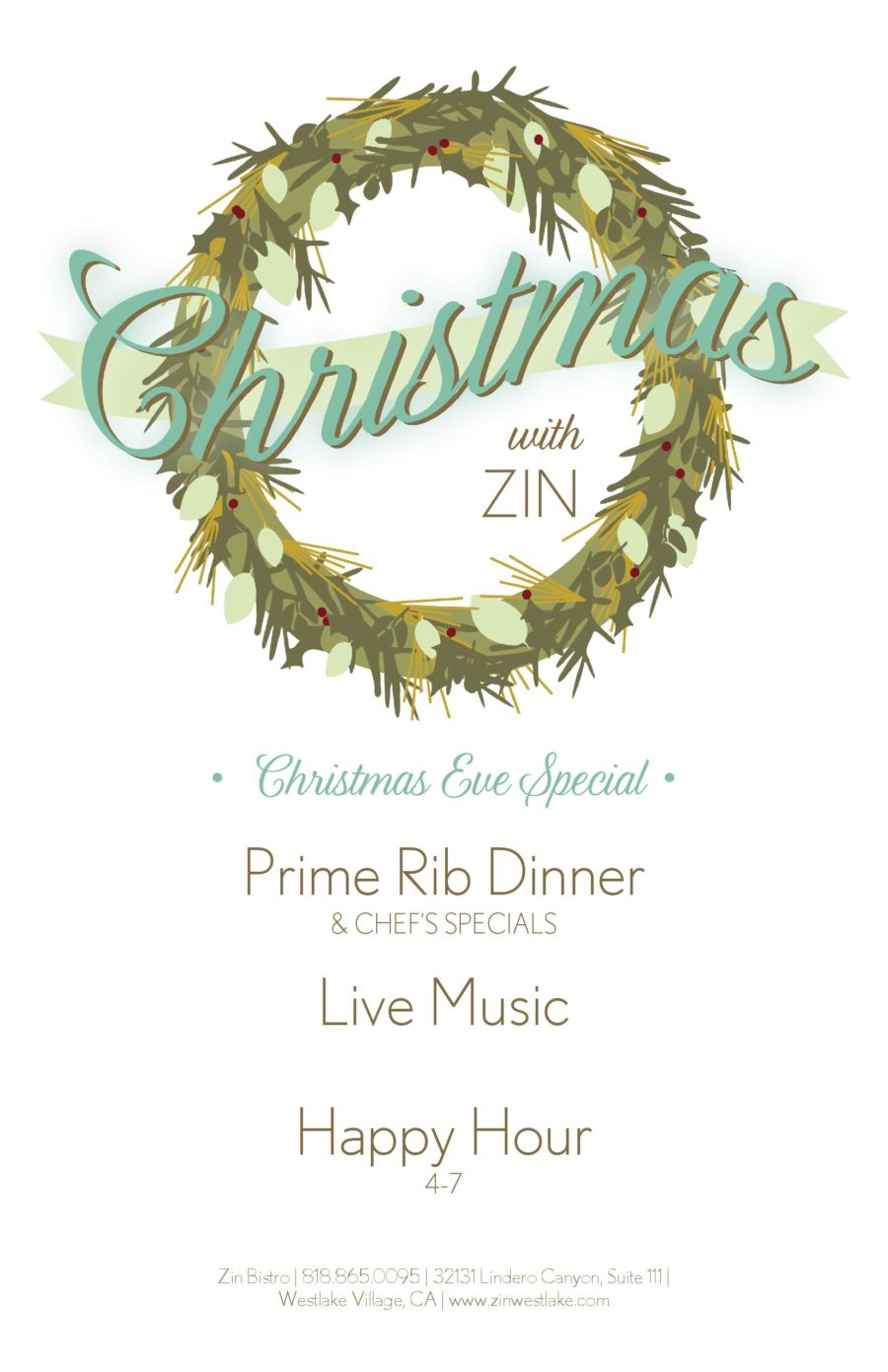 Spend Christmas Eve with Family, at Zin Bistro
