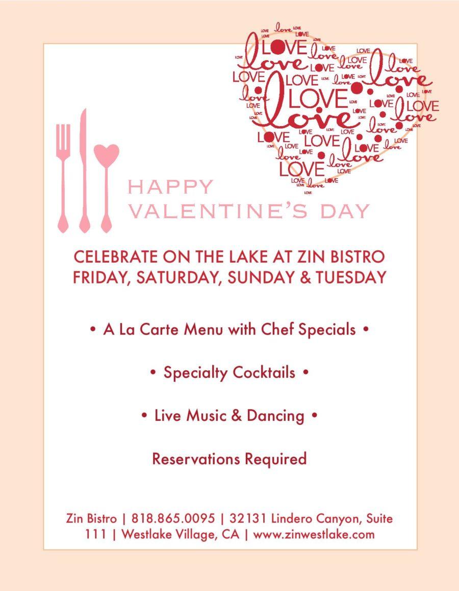 Celebrate Valentine's Day at Zin Bistro on the Lake