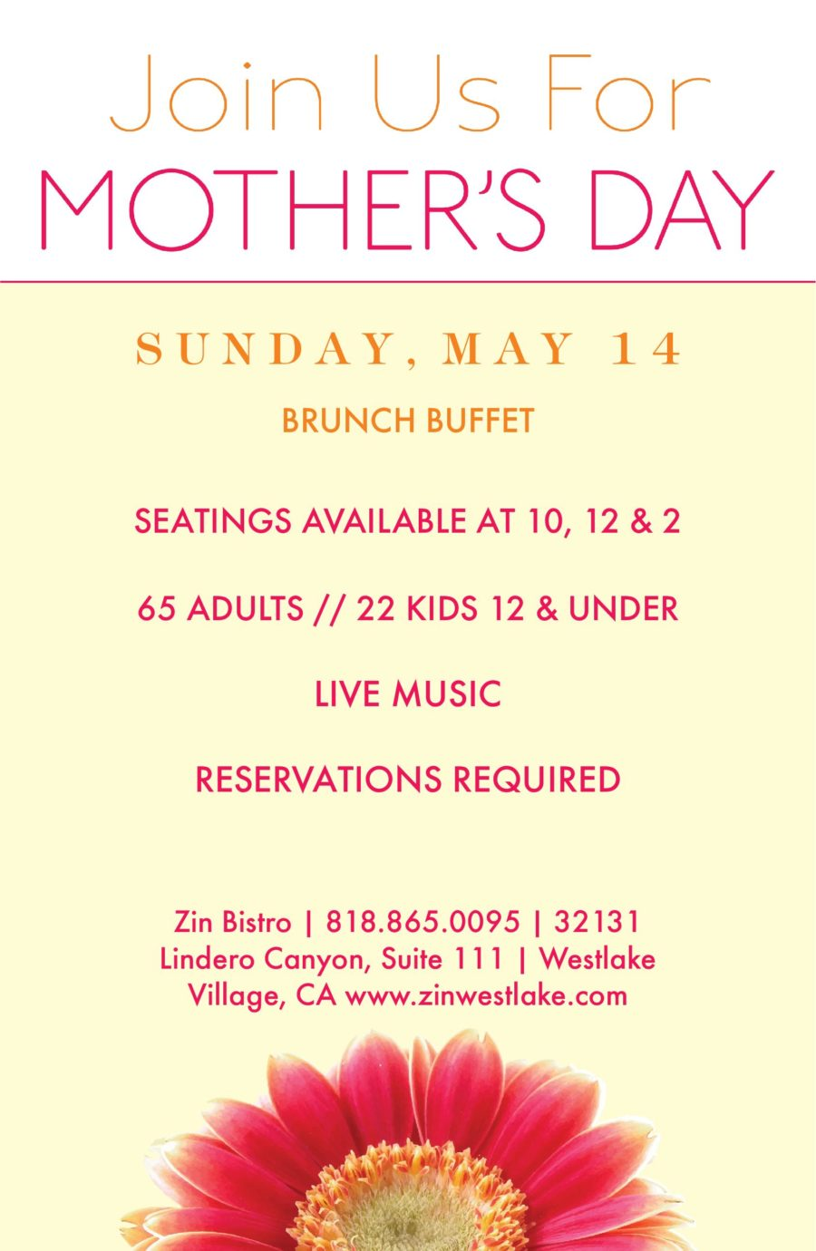 Celebrate Mother's Day on the Lake at Zin Bistro