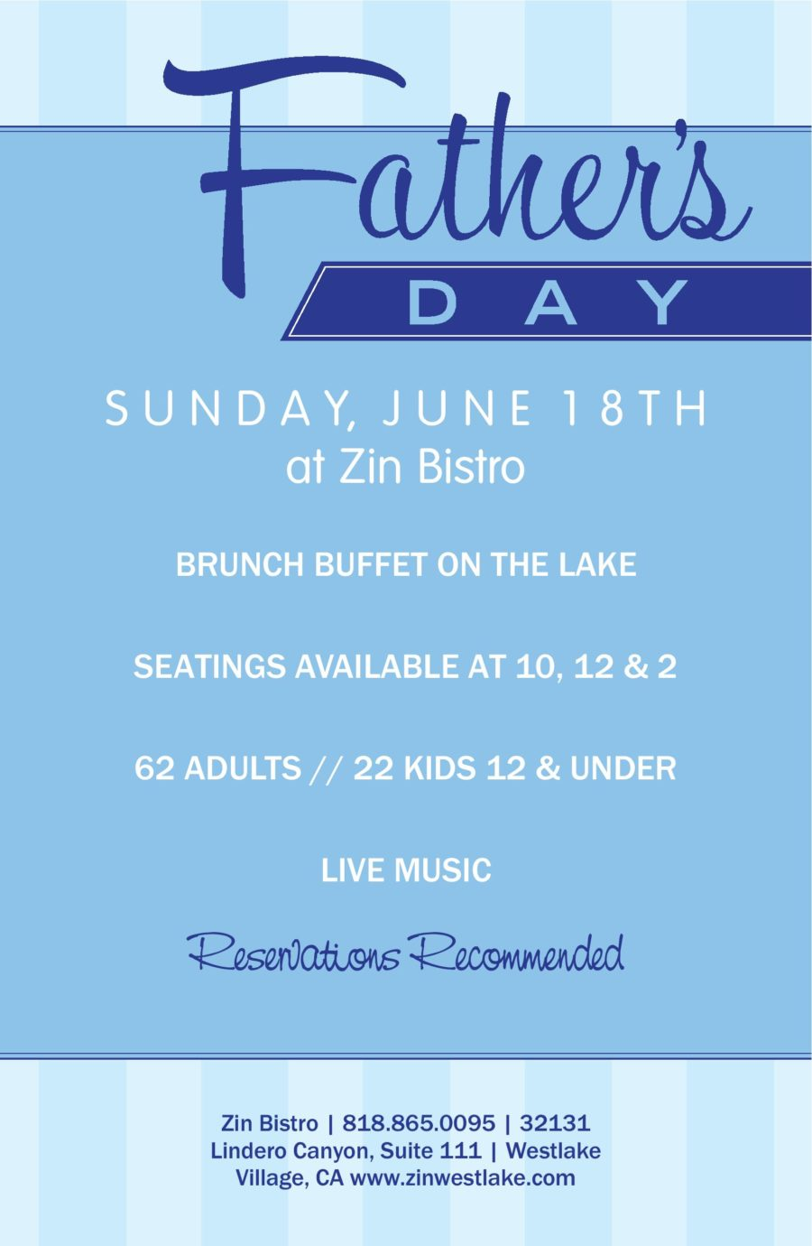 Celebrate Father's Day on the Lake at Zin Bistro