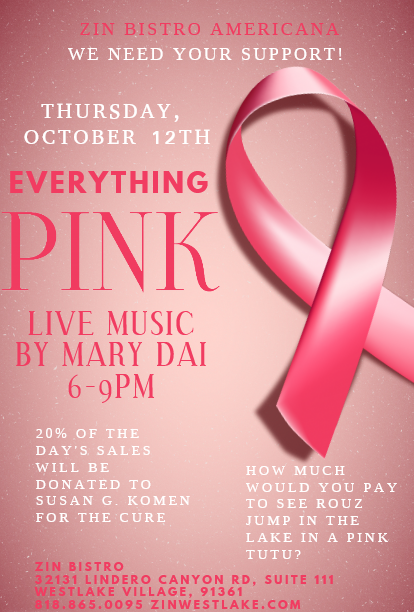 Annual Breast Cancer Awareness Fundraiser at Zin Bistro