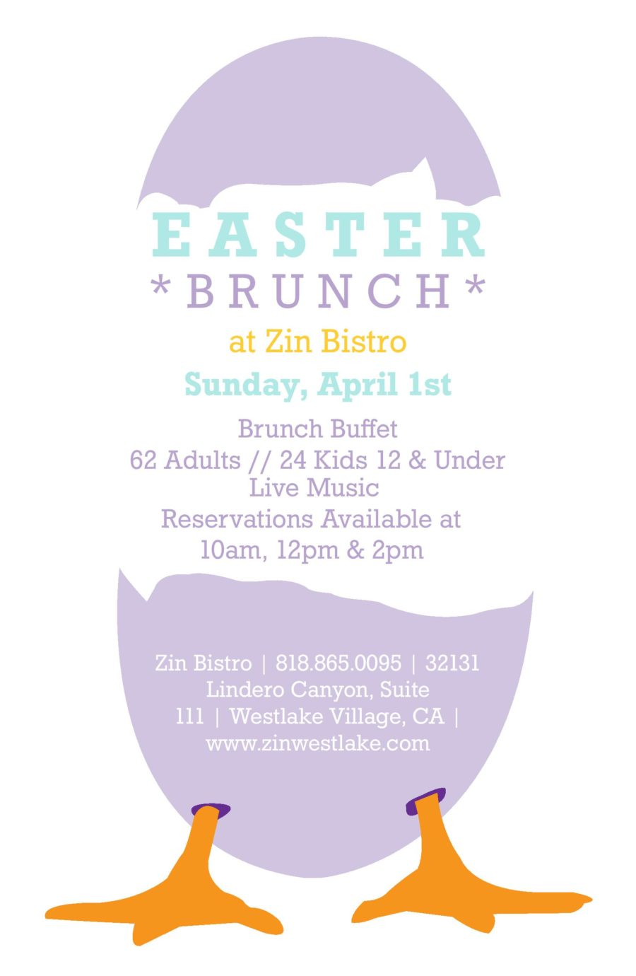 Easter Brunch on the Lake at Zin Bistro