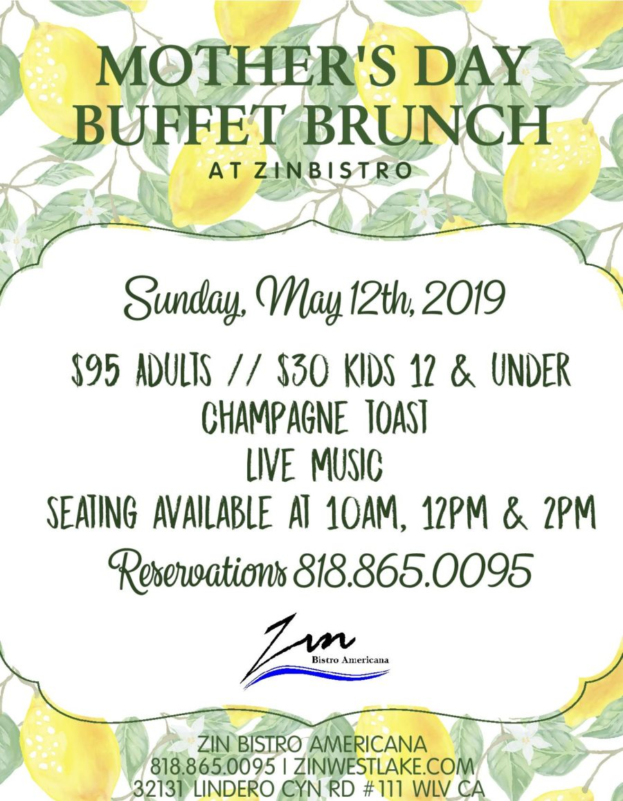 Mother's Day Buffet Brunch on the Lake at Zin Bistro